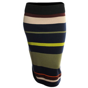 2x 3x Multi Color Striped Pull-On Sweater Skirt